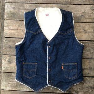 Levi's Rare vintage denim Sherpa vest sz lg